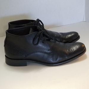 John Varvatos Black Leather Chukka Boots Size 7.5M